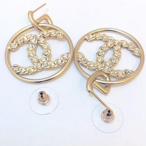 New Authentic Chanel 19 Crystal Loop Earrings